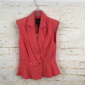 NWT Forever 21 S sleeveless blazer jacket coral